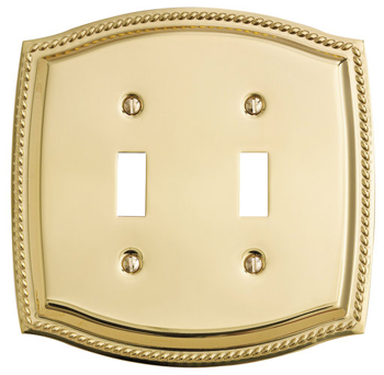 Baldwin 4790150CD Rope Double Toggle Residential Switchplate - Satin Nickel (Pictured in Polished Brass)