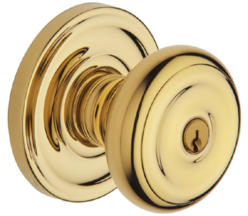 Baldwin 5210003ENTR Colonial Entry Knob w/Classic Rose - Lifetime Polished Brass