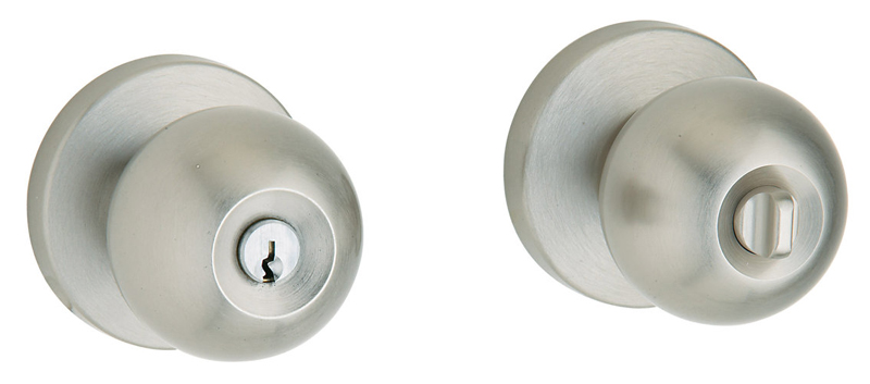 Baldwin 5215150ENTR Contemporary Entry Knob w/Contemporary Rose - Satin Nickel