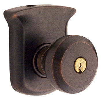 Baldwin 5220412ENTR Tahoe Entry Knob w/Tahoe Rose - Distressed Venetian Bronze