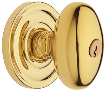 Baldwin 5225003ENTR Egg Entry Knob w/Classic Rose - Lifetime Polished Brass