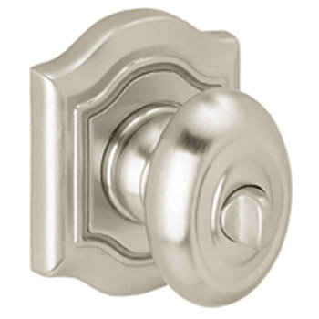 Baldwin 5437150PRIV Bethpage Bed/Bath Knob w/Bethpage Rose - Satin Nickel
