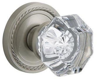 Baldwin 5800150PRVRP Filmore Crystal Bed/Bath Knob w/Rope Rose - Satin Nickel