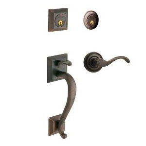 Baldwin 85320402LDBL Madison Double Cylinder Left-Handed Entry Handleset w/Interior Lever - Distressed Oil Rubbed Bronze