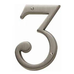 Baldwin 90673112CD House Number 3 - Venetian Bronze (Pictured in Antique Nickel)