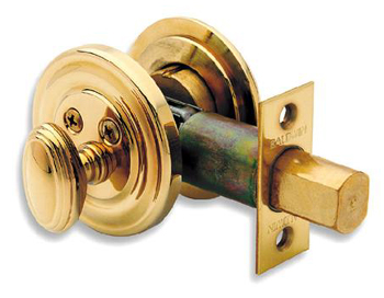 Baldwin 98231050 Traditional Series Deadbolt Lock - Satin Brass/Black (Pictured in Polished Brass)