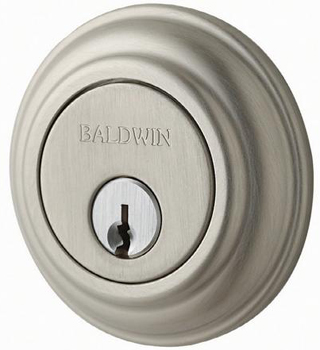 Baldwin 98231150 Large Collar Single Cylinder Deadbolt - Satin Nickel