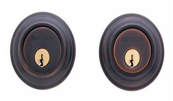 Baldwin 98232452 Deadbolt with Double Cylinder - Distressed Antique Nickel (Pictured in Venetian Bronze)