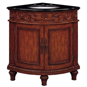 Belle Foret BF80039R Corner Single Basin Vanity - Dark Oak