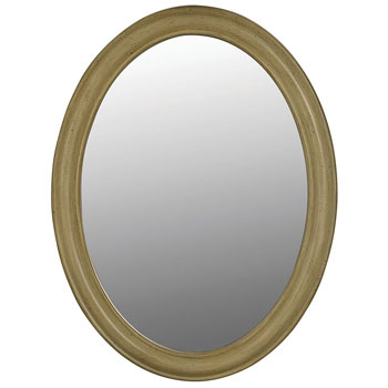 Belle Foret BF80043 Single Oval Mirror - Antique Parchment