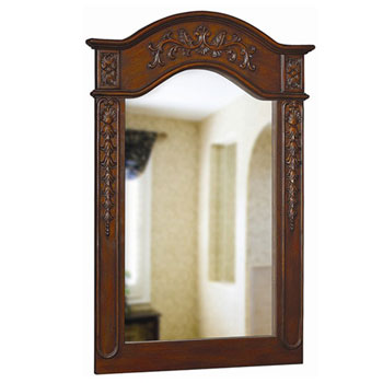 Belle Foret BF80047 Carved Portrait Mirror - Dark Cherry