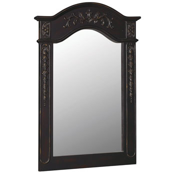 Belle Foret BF80051 Carved Portrait Mirror - Hand Rubbed Black
