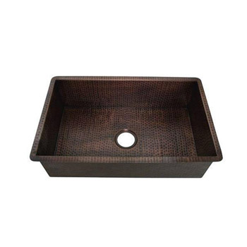 Belle Foret BFKKIT-WC Single Bowl Kitchen Undermount Sink - Weathered Copper