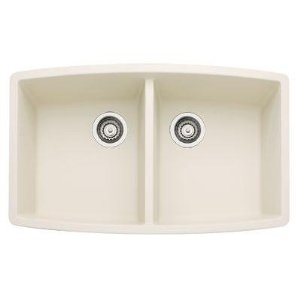 Blanco 440070 Performa Silgranit II Double Bowl Kitchen Sink Undermount - Biscuit