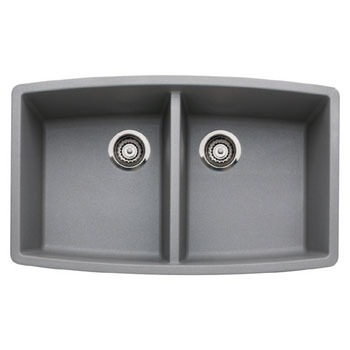 Blanco 440072 Performa Silgranit II Double Bowl Kitchen Sink Undermount - Metallic Gray