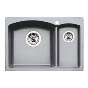 Blanco 440188 Diamond Silgranit II Prep Sink Drop-In - Metallic Gray