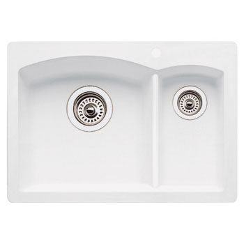 Blanco 440190 Diamond Silgranit II Prep Sink Drop-In - White