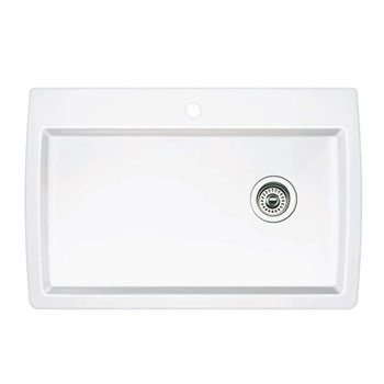 Blanco 440195 Diamond Super Single Bowl Drop-In Silgranit II Kitchen Sink - White