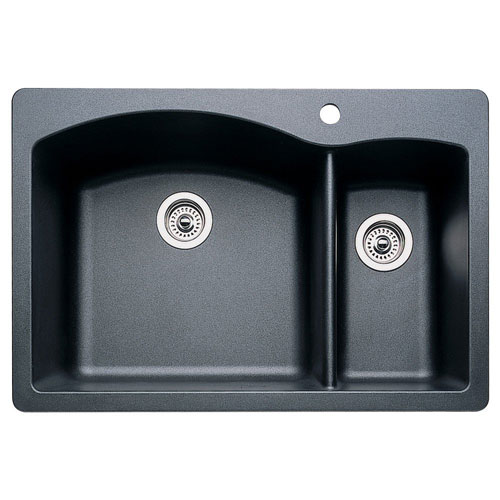 Blanco 440199 Diamond 1-1/2 Bowl Drop-In Silgranit II Kitchen Sink ...