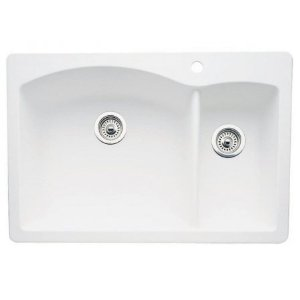 Blanco 440200 Diamond 1-1/2 Bowl Drop-In Silgranit II Kitchen Sink - White