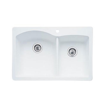 Blanco 440216 Diamond 1-3/4 Bowl Drop-In Silgranit II Kitchen Sink - White