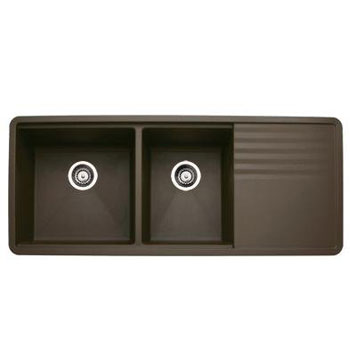 Blanco 440399 Precis Multilevel 1-3/4 Bowl Kitchen Sink with Drainboard - Cafe Brown