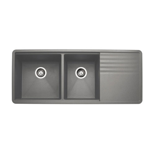 Blanco 440411 Precis Multilevel 1-3/4 Bowl Kitchen Sink with Drainboard - Metallic Gray