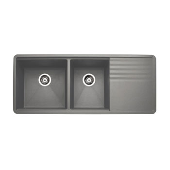 blanco 440411 precis multilevel 1 3 4 bowl kitchen sink with drainboard   metallic gray blanco 440411 precis multilevel 1 3 4 bowl kitchen sink with      rh   faucetdepot com