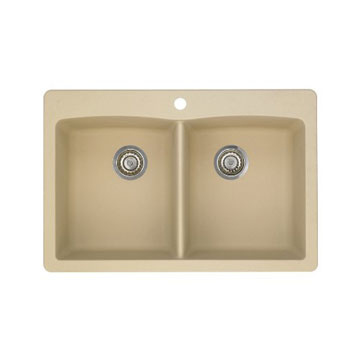 Blanco 441217 Diamond Equal Double Bowl Silgranit II Drop-In Kitchen Sink - Biscotti