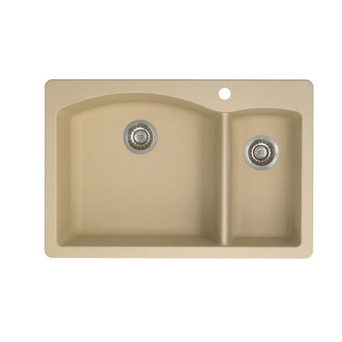 Blanco 441221 Diamond 1-1/2 Bowl Drop-In Silgranit II Kitchen Sink - Biscotti