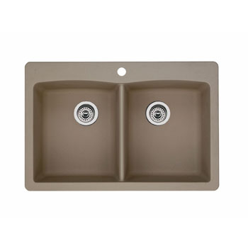Blanco 441285 Diamond Equal Double Bowl Drop-In Silgranit II Kitchen Sink - Truffle