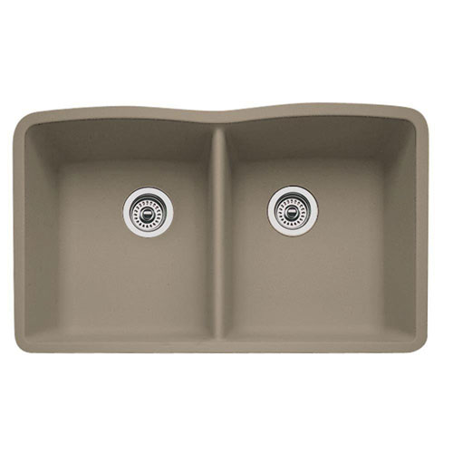 Blanco 441286 Diamond Equal Double Bowl Silgranit II Undermount Kitchen Sink - Truffle