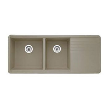 ... Precis Multilevel 1-3/4 Bowl Kitchen Sink with Drainboard - Truffle