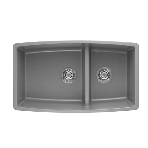 Blanco 441309 Performa Silgranit II 1-3/4 Double Bowl Undermount - Metallic Gray