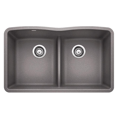 BLANCO 442077 DIAMOND Equal Double Bowl with Low-Divide - Metallic Gray