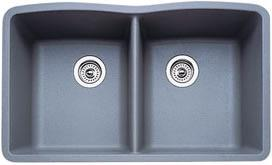 Blanco 440183 Diamond Equal Double Bowl Silgranit II Undermount Kitchen Sink - Metallic Gray