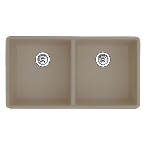 Blanco 517678 Precis 16'' Equal Double Bowl Kitchen Sinks Undermount - Truffle
