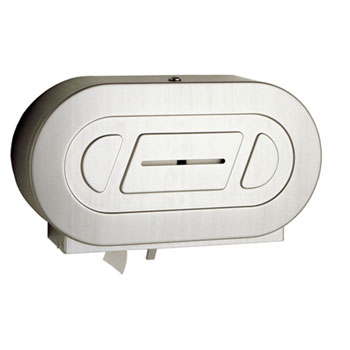 Bobrick B-2892 ClassicSeries Surface-Mounted Twin Jumbo-Roll Toilet Tissue Dispenser - Satin