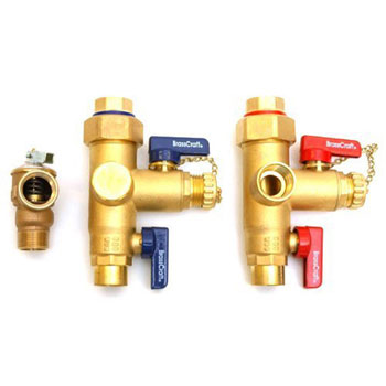 Brasscraft TWV30R Tankless Water Heater IPS x IPS Service Valve Kit with Pressure Relief Valve