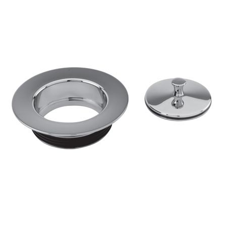 Brasstech 118 Solid Brass Disposal Flange and Stopper - Flat Black (Pictured in Polished Chrome)