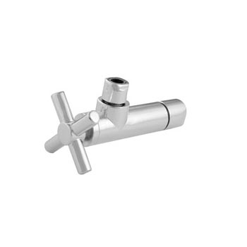 Brasstech 403X-1 1/4 Turn Contemporary Ceramic Disc Angle Valve with Cross Handle - Polished Chrome