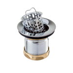 Brasstech 130-26D Junior Basket Strainer With Washers and Nuts-Satin Chrome (Pictured in Polished Chrome)