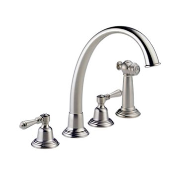 Brizo 62201-SSLHP Providence Classic Two Handle Kitchen Faucet with Side Spray - Stainless