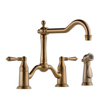 Brizo 62536LF-BZ Tresa Two Handle Kitchen Bridge Faucet with Side Spray - Brushed Bronze