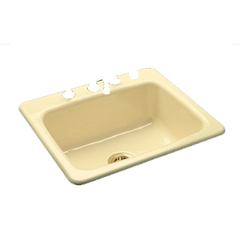 CECO C-E 757-3HOLE-WHT Cast Iron Ledge Type Self Rimming Kitchen Sink - White