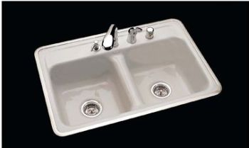 CECO Model 740-3 Hole Ledge Cast Iron Sink 32 inch  x 21 inch  - White