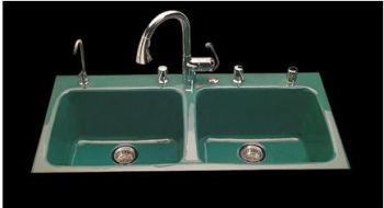 CECO Model 743-3 Hole Drop-In Kitchen Cast Iron Sink 43