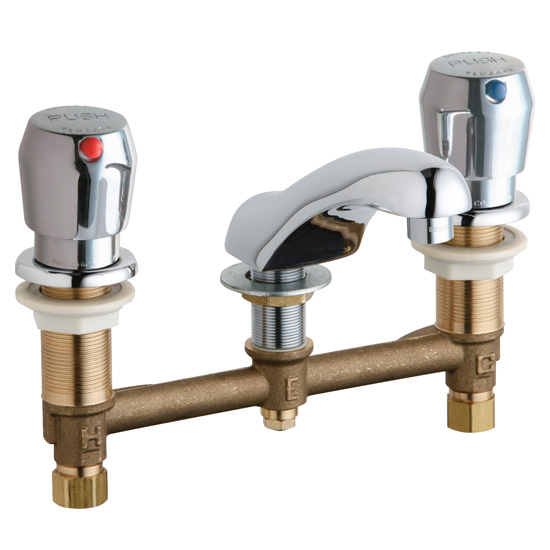 Chicago Faucets 404-V665ABCP Concealed Hot and Cold Water Metering Sink Faucet - Chrome
