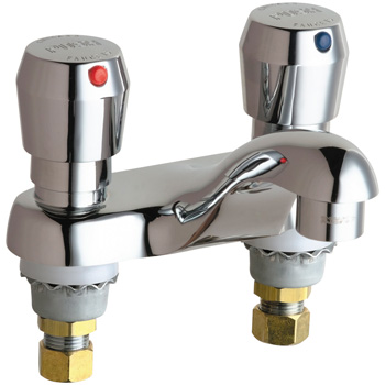 Chicago Faucets 802-E74-665ABCP Hot and Cold Water Metering Sink Faucet - Chrome
