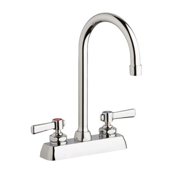 Chicago Faucets W4D-GN2AE35-369AB Hot and Cold Water Workboard Sink Faucet - Chrome